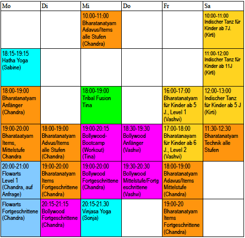 Stundenplan Natyadhara